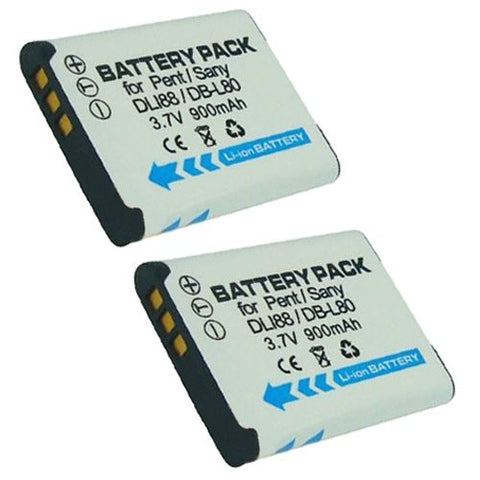 ValuePack (2 Count): Extended Performance Replacement Battery for Specific Digital Camera and Camcorder Models / Compatible with Pentax D-LI88, Optio H90, Optio P70, Optio P80, Optio W90, Optio WS80