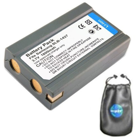 Digital Replacement Battery for Specific Digital Camera and Camcorder Models / Compatible with Samsung SLB-1437, SLB1437, DigiMax: V3, V4, V5, V6, V50, V70, V4000 - Includes Leatherette Camera / Lens Accessories Pouch