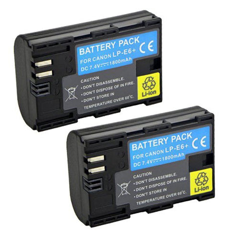 ValuePack (2 Count): Extended Performance Replacement Battery for Specific Digital Camera and Camcorder Models / Compatible with Canon LP-E6, LPE6, EOS 7D, EOS 5D Mark II