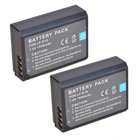 ValuePack (2 Count): Extended Performance Replacement Battery for Specific Digital Camera and Camcorder Models / Compatible with Canon LP-E10, LPE10, EOS 1100D, EOS Rebel T3, EOS Kiss X50