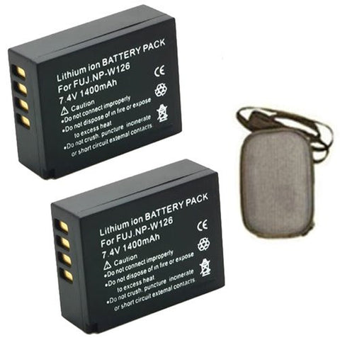 ValuePack (2 Count): Extended Life Replacement Battery for Specific Digital Camera and Camcorder Models / Compatible with Fujifilm NP-W126, NPW126, FinePix HS30EXR, HS33EXR, X-Pro1 - Includes Hard Case Camera Bag