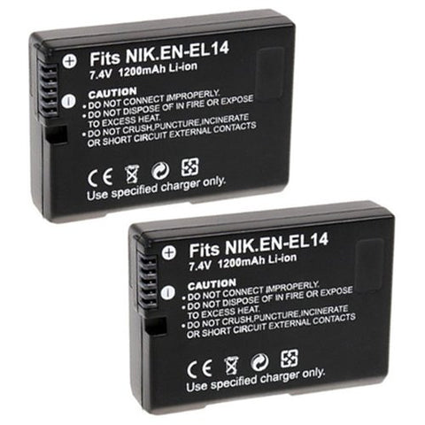 ValuePack (2 Count): Extended Performance Replacement Battery for Specific Digital Camera and Camcorder Models / Compatible with Nikon EN-EL14, ENEL14, DSLR D3100, D3200, D5100, COOLPIX: P7000, P7100, P7700