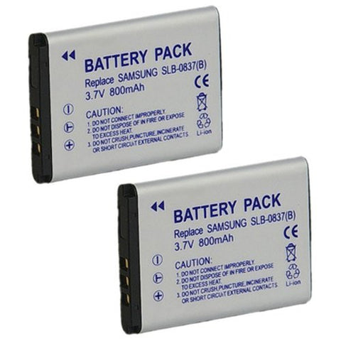 ValuePack (2 Count): Extended Performance Replacement Battery for Specific Digital Camera and Camcorder Models / Compatible with Samsung SLB-0837B, SLB0837B, Digimax L70, Digimax L70B, L83T, NV10, VLUU L201, NV15, NV20, VLUU NV10