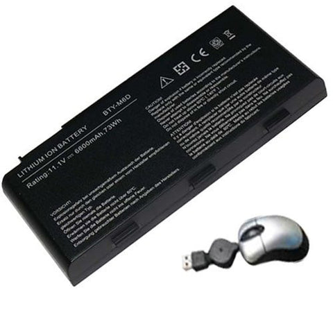 Amsahr® Replacement Battery for MSI GT70, E6603, E6603-454, E6603-499 (9 Cell, 6600 mAh) - Includes Mini Optical Mouse