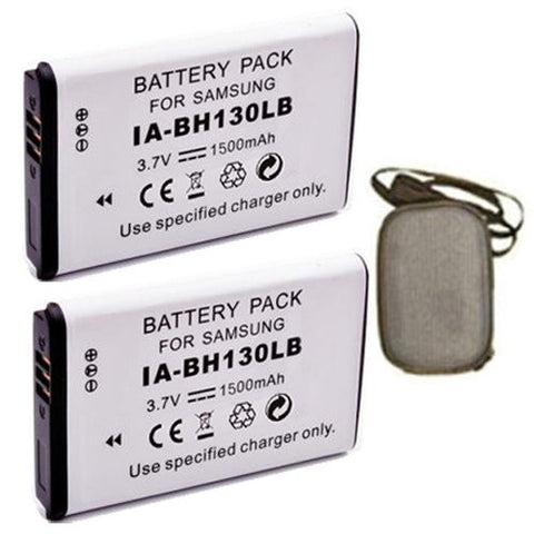 ValuePack (2 Count): Extended Life Replacement Battery for Specific Digital Camera and Camcorder Models / Compatible with Samsung IA-BH130LB, IABH130LB, SMX-C10, SMX-C20, SMX-K40, SMXC10, SMXC20, SMXK40 - Includes Hard Case Camera Bag
