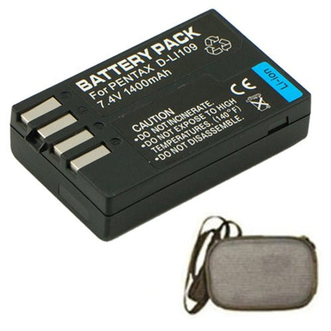 Extended Life Replacement Battery for Specific Digital Camera and Camcorder Models / Compatible with Pentax D-LI109, K-r, K-2 - Includes Hard Case Camera Bag