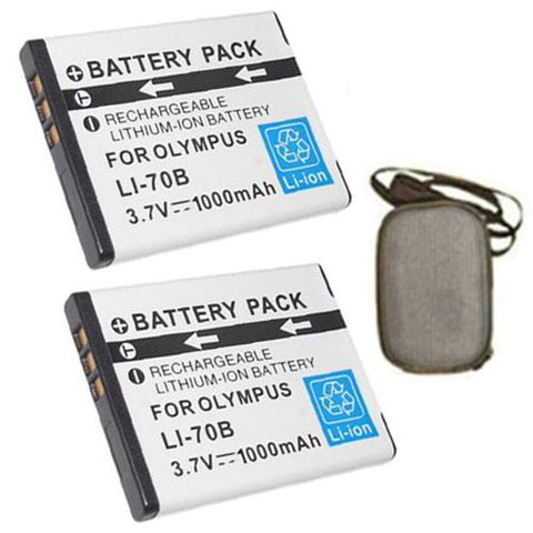 ValuePack (2 Count): Extended Life Replacement Battery for Specific Digital Camera and Camcorder Models / Compatible with Olympus Li-70B, FE-4020, FE-4040, X-940 - Includes Hard Case Camera Bag