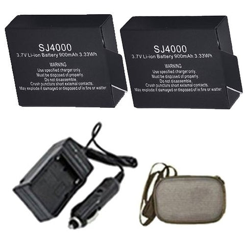 Extended Life Replacement Battery PLUS Mini Battery Travel Charger for Specific Digital Camera and Camcorder Models / Compatible with SJ4000 /SJ5000/SJ6000 Charges with Intelligent Charge Technology - Includes Car Adapter and Hard Case Camera Bag