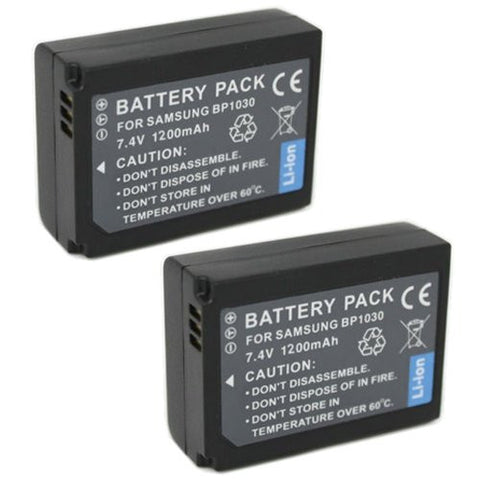 ValuePack (2 Count): Extended Performance Replacement Battery for Specific Digital Camera and Camcorder Models / Compatible with Samsung BP-1030, NX1100, NX1000, NX200, NX210