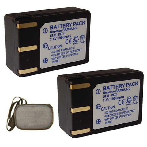 ValuePack (2 Count): Extended Life Replacement Battery for Specific Digital Camera and Camcorder Models / Compatible with Samsung SLB-1974, SLB1974, Pro 815, Pro 815SE - Includes Hard Case Camera Bag