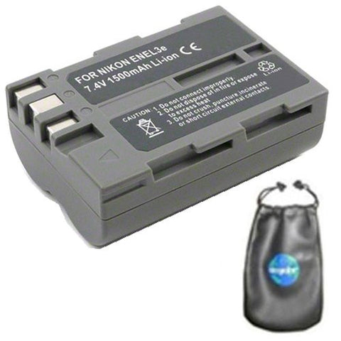 Digital Replacement Battery for Specific Digital Camera and Camcorder Models / Compatible with Nikon EN-EL3e, ENEL3e, D100, D200, D300, D50, D70, D700, D70s, D80, D90, DSLR D700 - Includes Leatherette Camera / Lens Accessories Pouch