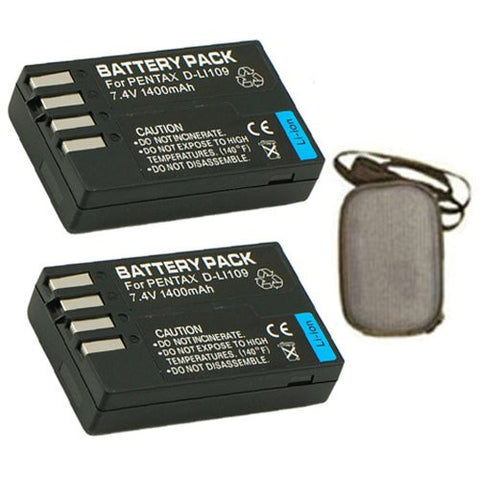 ValuePack (2 Count): Extended Life Replacement Battery for Specific Digital Camera and Camcorder Models / Compatible with Pentax D-LI109, K-r, K-2 - Includes Hard Case Camera Bag