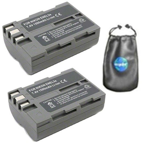 ValuePack (2 Count): Digital Replacement Battery for Specific Digital Camera and Camcorder Models / Compatible with Nikon EN-EL3e, ENEL3e, D100, D200, D300, D50, D70, D700, D70s, D80, D90, DSLR D700 - Includes Leatherette Camera / Lens Accessories Pouch