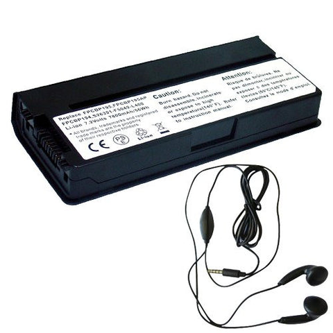 Amsahr® Extended Life Replacement Battery for Fujitsu FPCBP194, FPCBP195, FPCBP195AP, LifeBook: P8010, P8020, SIEMENS LifeBook P8010, S26391-F5049-L400 (6 Cell, 6600 mAh) - Includes Stereo Earphone