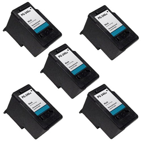 Canon PG-240XL, PIXMA MP2120, 2220 Remanufactured Replacement Ink Cartridges - Includes FIVE BLACK Cartridges