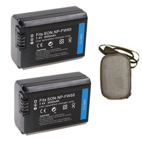 ValuePack (2 Count): Extended Life Replacement Battery for Specific Digital Camera and Camcorder Models / Compatible with Sony NP-FW50, NPFW50, NEX-5C, NEX-C3 - Includes Hard Case Camera Bag