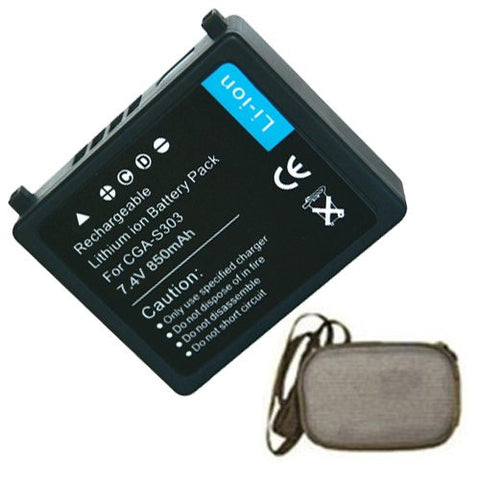 Extended Life Replacement Battery for Specific Digital Camera and Camcorder Models / Compatible with Panasonic CGA-S303, VW-VBE10, SDR-S100, SDR-S100EG-S, SDR-S200, SDR-S300 - Includes Hard Case Camera Bag