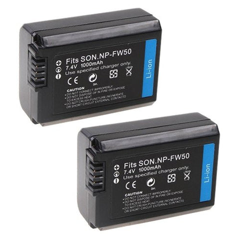 ValuePack (2 Count): Extended Performance Replacement Battery for Specific Digital Camera and Camcorder Models / Compatible with Sony NP-FW50, NPFW50, NEX-5C, NEX-C3