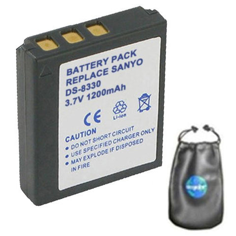 Digital Replacement Battery for Specific Digital Camera and Camcorder Models / Compatible with Sanyo DS-8330, DS8330, VPC-E1000, VPC-W800 - Includes Leatherette Camera / Lens Accessories Pouch