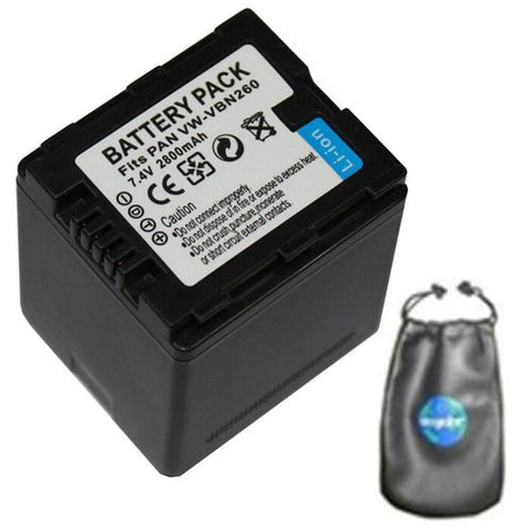 Digital Replacement Battery for Specific Digital Camera and Camcorder Models / Compatible with Panasonic VW-VBN260, VW-VBN130, HC-X800, HC-X900, HC-X900M, SD800, HS900, SD900, TM900 - Includes Leatherette Camera / Lens Accessories Pouch