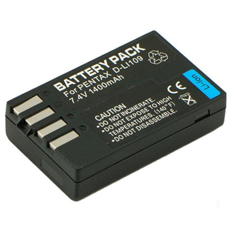 Extended Performance Replacement Battery for Specific Digital Camera and Camcorder Models / Compatible with Pentax D-LI109, K-r, K-2