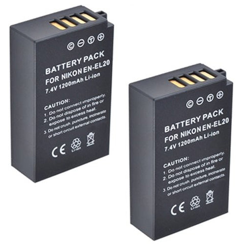 ValuePack (2 Count): Extended Performance Replacement Battery for Specific Digital Camera and Camcorder Models / Compatible with Nikon EN-EL20, ENEL20, 1 AW1, Nikon 1 J1, Nikon 1 J2