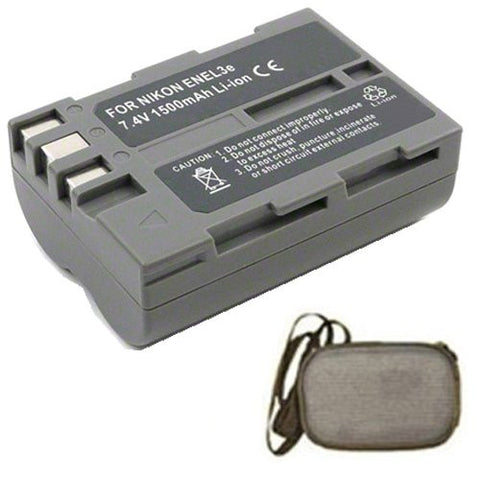 Extended Life Replacement Battery for Specific Digital Camera and Camcorder Models / Compatible with Nikon EN-EL3e, ENEL3e, D100, D200, D300, D50, D70, D700, D70s, D80, D90, DSLR D700 - Includes Hard Case Camera Bag