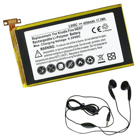 Amsahr® Extended Life Replacement Battery for Amazon S12-T1, 58-000043, MNHSNY133711TM, S12-T1-L, S12-T1-S (3.8V, 4550 mAh) - Includes Stereo Earphone