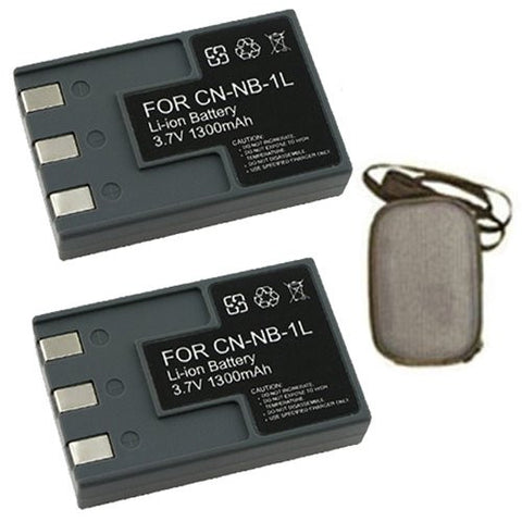 ValuePack (2 Count): Extended Life Replacement Battery for Specific Digital Camera and Camcorder Models / Compatible with Canon NB-1L, NB1L, NB-1LH, NB1LH, PowerShot S100, S110, S200, S230, S300, S330, S400, S410, S500 - Includes Hard Case Camera Bag