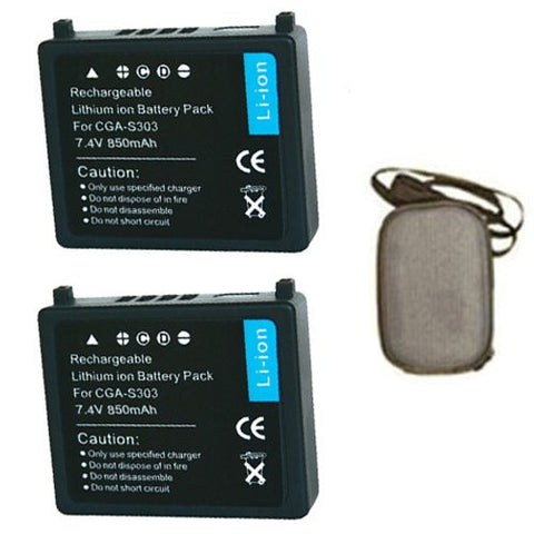 ValuePack (2 Count): Extended Life Replacement Battery for Specific Digital Camera and Camcorder Models / Compatible with Panasonic CGA-S303, VW-VBE10, SDR-S100, SDR-S100EG-S, SDR-S200, SDR-S300 - Includes Hard Case Camera Bag