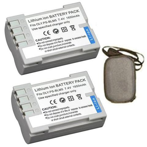 ValuePack (2 Count): Extended Life Replacement Battery for Specific Digital Camera and Camcorder Models / Compatible with Olympus BLM-5, DSLR E-3, E-30, E5 - Includes Hard Case Camera Bag