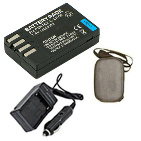 Extended Life Replacement Battery PLUS Mini Battery Travel Charger for Specific Digital Camera and Camcorder Models / Compatible with Pentax D-LI109, K-r, K-2 Charges with Intelligent Charge Technology - Includes Car Adapter and Hard Case Camera Bag