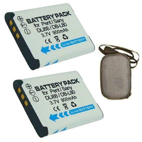 ValuePack (2 Count): Extended Life Replacement Battery for Specific Digital Camera and Camcorder Models / Compatible with Pentax D-LI88, Optio H90, Optio P70, Optio P80, Optio W90, Optio WS80 - Includes Hard Case Camera Bag