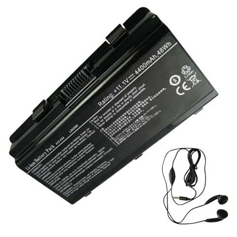 Amsahr® Extended Life Replacement Battery for ASUS H24, Philco PHN14PH24, Megaware C2, NEO A3152, A3150, 2252, 4100, 4200, 4030, Kennex 420, 321, 327, 328 (6 Cell, 4400 mAh) - Includes Stereo Earphone