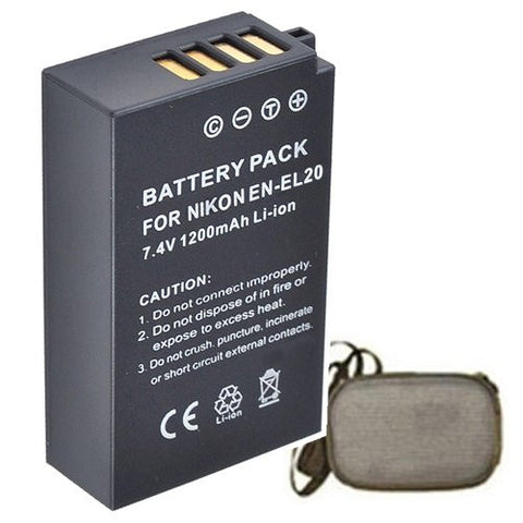 Extended Life Replacement Battery for Specific Digital Camera and Camcorder Models / Compatible with Nikon EN-EL20, ENEL20, 1 AW1, Nikon 1 J1, Nikon 1 J2 - Includes Hard Case Camera Bag