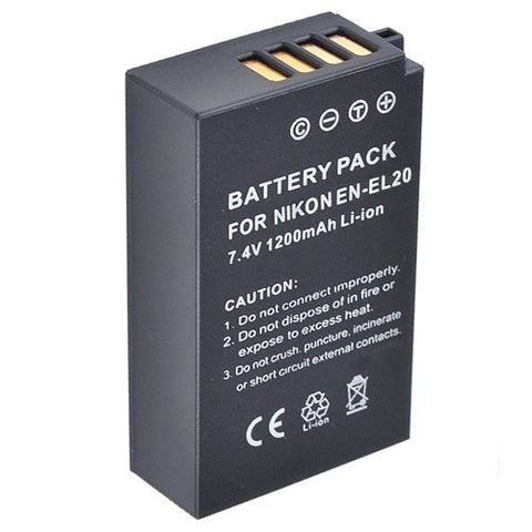Extended Performance Replacement Battery for Specific Digital Camera and Camcorder Models / Compatible with Nikon EN-EL20, ENEL20, 1 AW1, Nikon 1 J1, Nikon 1 J2