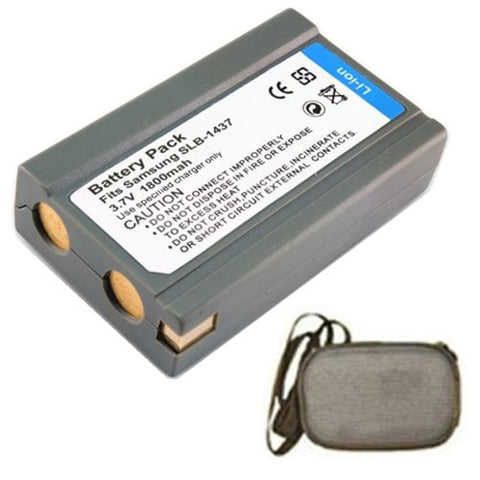 Extended Life Replacement Battery for Specific Digital Camera and Camcorder Models / Compatible with Samsung SLB-1437, SLB1437, DigiMax: V3, V4, V5, V6, V50, V70, V4000 - Includes Hard Case Camera Bag