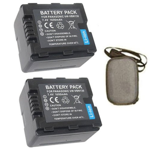 ValuePack (2 Count): Extended Life Replacement Battery for Specific Digital Camera and Camcorder Models / Compatible with Panasonic VW-VBN130, VW-VBN260, HDC-HS900, HDC-SD800, HDC-TM900, HDC-SD900 - Includes Hard Case Camera Bag