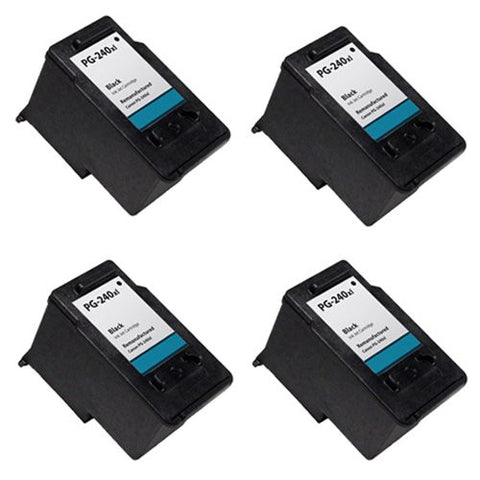 Canon PG-240XL, PIXMA MP2120, 2220 Remanufactured Replacement Ink Cartridges - Includes FOUR BLACK Cartridges