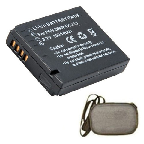 Extended Life Replacement Battery for Specific Digital Camera and Camcorder Models / Compatible with Panasonic DMW-BCJ13, DMW-BCJ13E, DMW-BCJ13PP, DMC-LX5, DMC-LX5, DMC-LX5K, DMC-LX5W - Includes Hard Case Camera Bag