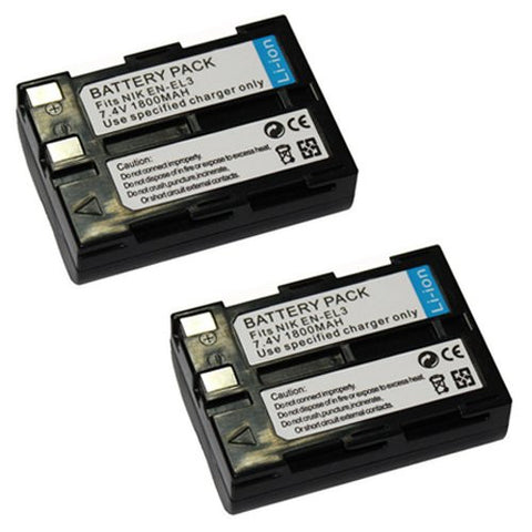 ValuePack (2 Count): Extended Performance Replacement Battery for Specific Digital Camera and Camcorder Models / Compatible with Nikon EN-EL3, EN-EL3a, D100, Nikon D50, Nikon D70, Nikon D70s