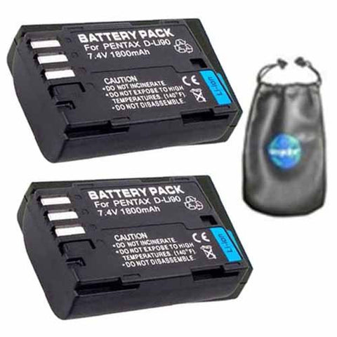 ValuePack (2 Count): Digital Replacement Battery for Specific Digital Camera and Camcorder Models / Compatible with Pentax D-LI90, DLi90, K-5, K-5II, K-5IIs, K-7, K-01, 645D - Includes Leatherette Camera / Lens Accessories Pouch