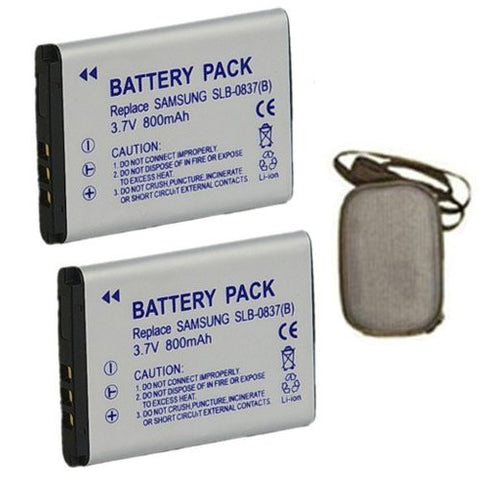 ValuePack (2 Count): Extended Life Replacement Battery for Specific Digital Camera and Camcorder Models / Compatible with Samsung SLB-0837B, SLB0837B, Digimax L70, Digimax L70B, L83T, NV10, VLUU L201, NV15, NV20, VLUU NV10 - Includes Hard Case Camera Bag