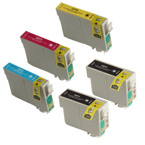 Amsahr Epson T127120, NX625 Remanufactured Replacement Ink Cartridges - Includes Set of 5: 2 BLACK and 3 Color Ink Cartridges