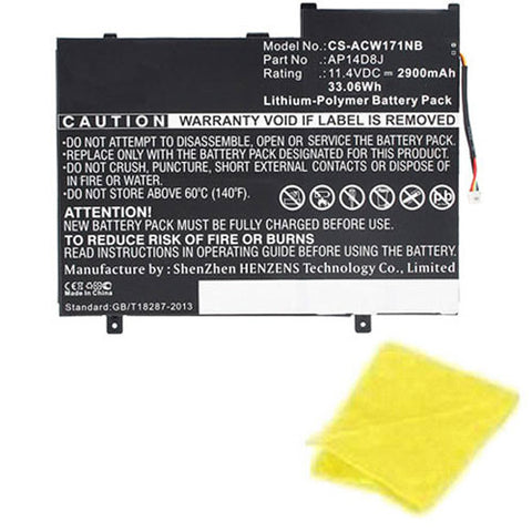 amsahr Replacement Battery for Acer AP12D8K, W510P-1406 (11.4V, 2850mAh, 3-Cell) - Includes Cleaning Cloth