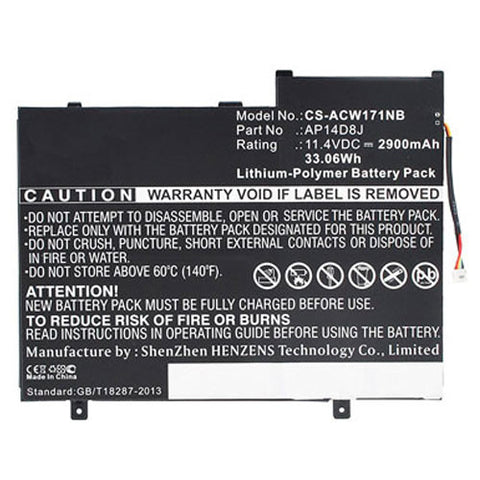 amsahr Extended Performance Replacement Battery for Acer AP12D8K, W510P-1406 (11.4V, 2850mAh, 3-Cell)