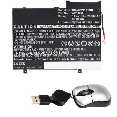amsahr Replacement Battery for Acer AP12D8K, W510P-1406 (11.4V, 2850mAh, 3-Cell) - Includes Mini Optical Mouse