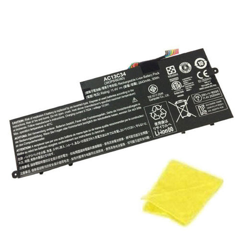 amsahr Replacement Battery for ACER AC13C34, E3-111-C5N3, E3-111-C5Q2, E3-111-C1R7, E3-111-C8K0, E3-111-C4U8, E3-111-C0SV, E3-111-C0E2 (30Wh, 11.4V) - Includes Cleaning Cloth