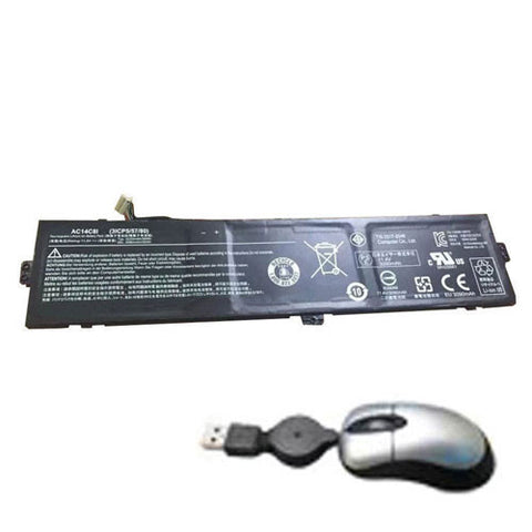 amsahr Replacement Battery for ACER AC14C8I, 3ICP5/57/80, AC14C8I, 3ICP5/57/80 (3090mAh/35WH, 11.4V) - Includes Mini Optical Mouse