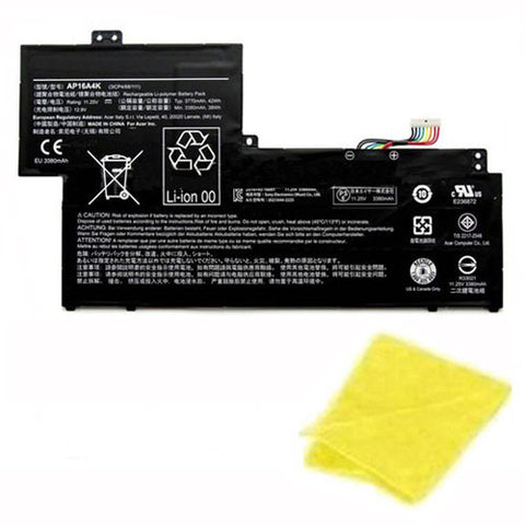 amsahr Replacement Battery for ACER AP16A4K, Acer 3ICP4/68/111, Acer KT.00304.003 (11.25V, 42WH) - Includes Cleaning Cloth